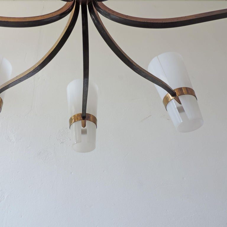 Mid-20th Century Italian Brass and Plexiglass 1950s Ceiling Lamp For Sale