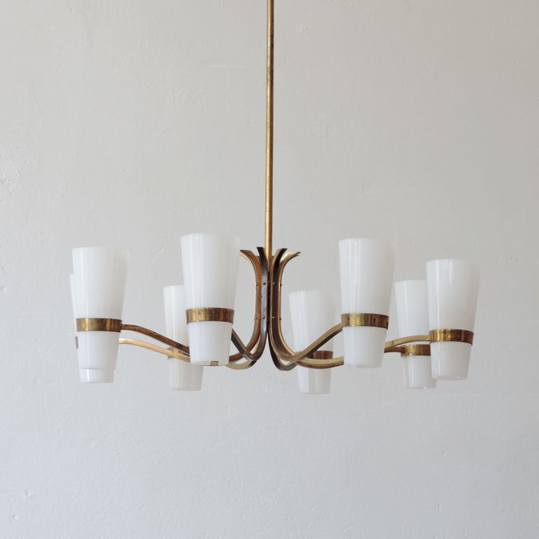 Italian Brass and Plexiglass 1950s Ceiling Lamp For Sale 2