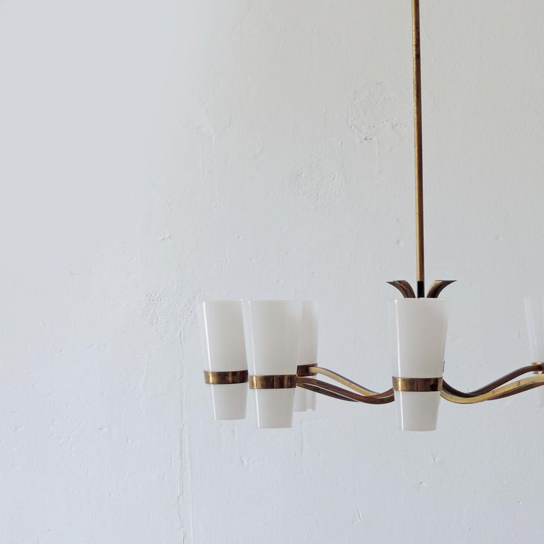 Italian Brass and Plexiglass 1950s Ceiling Lamp For Sale 3