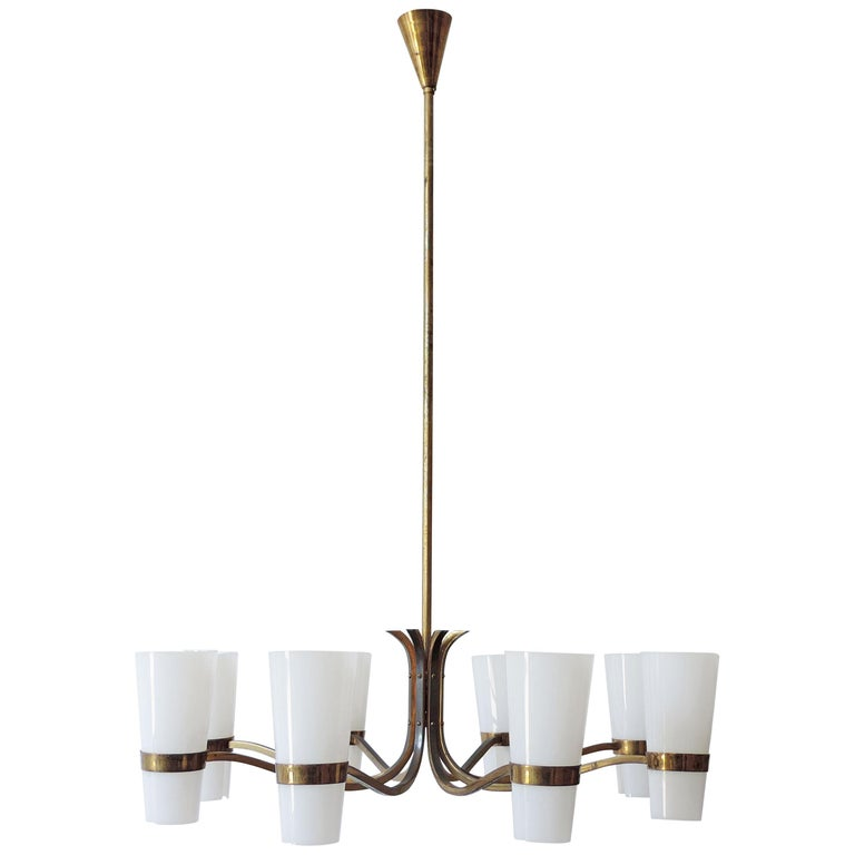 Italian Brass and Plexiglass 1950s Ceiling Lamp For Sale