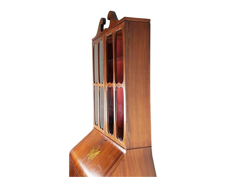 Mid-Century Modern Italian Brass and Rosewood 1950s Trumeau by Paolo Buffa & Giovanni Gariboldi For Sale