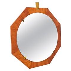 Italian Brass and Teak 1960s Octagonal Wall Mirror