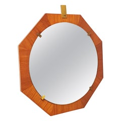 Italian Brass and Teak 1960s Octagonal Wall Mirror