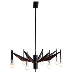 Italian Brass and Teak Chandelier