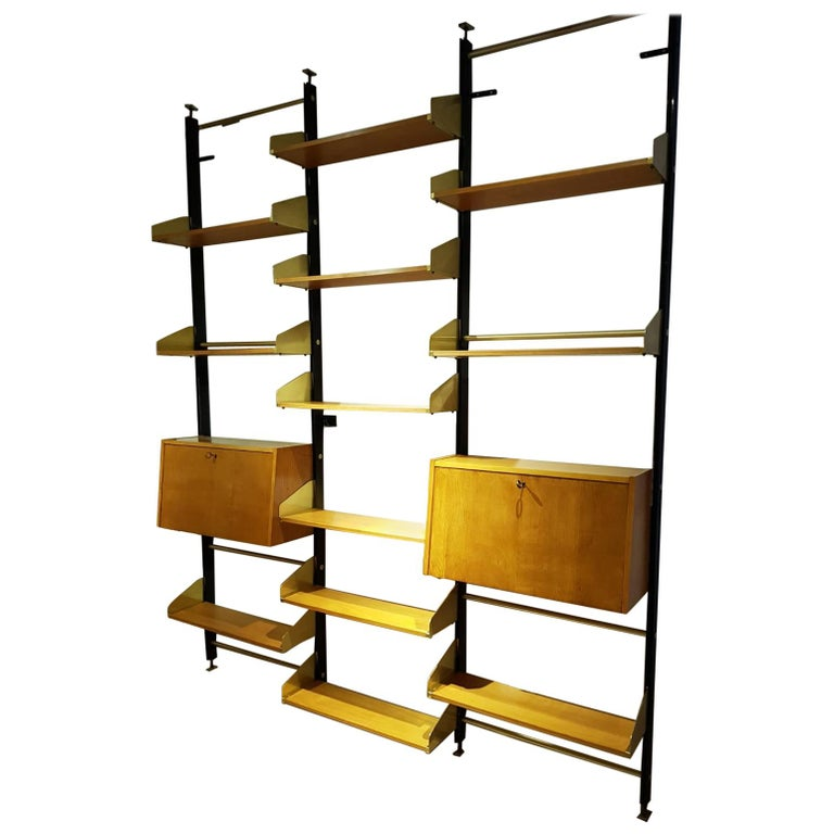 Wood Bookshelves For Sale: Italian Brass And Wood Adjustable Shelves Bookcase, 1950s