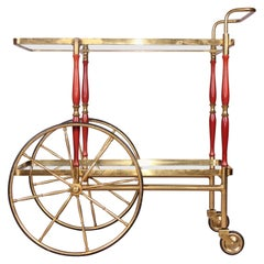 Italian Brass and Wood Servir Boy or Bar Cart