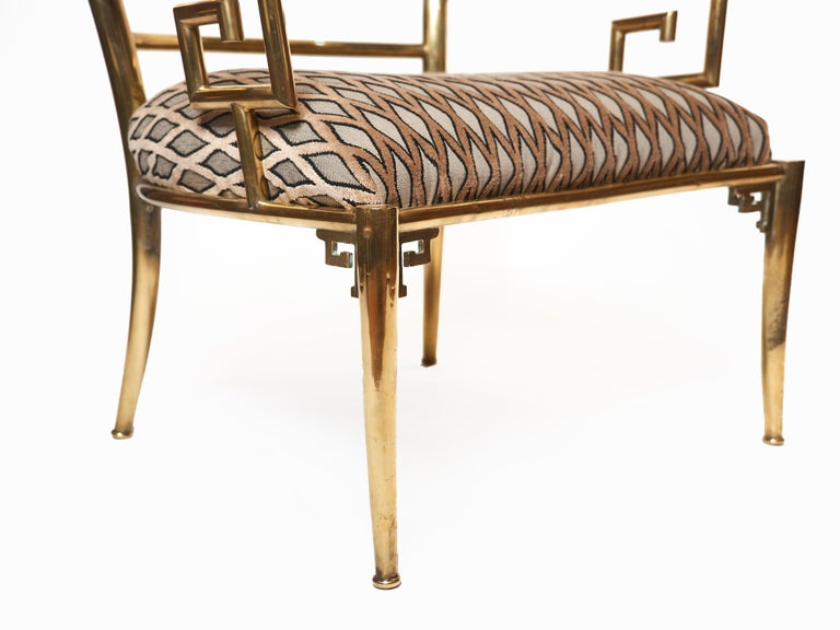 20th Century Italian Brass Armchair with Greek Key Armrests, c. 1960s For Sale