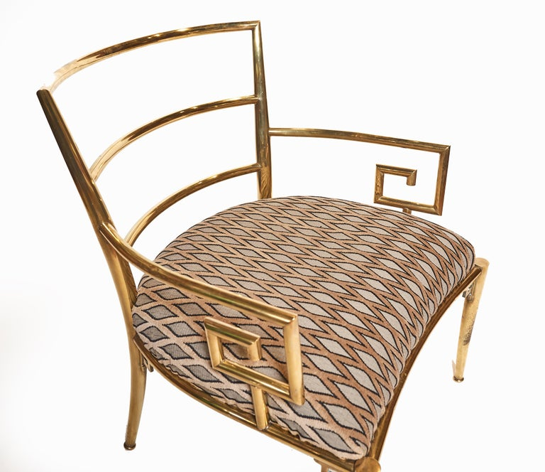 Italian Brass Armchair with Greek Key Armrests, c. 1960s For Sale 2