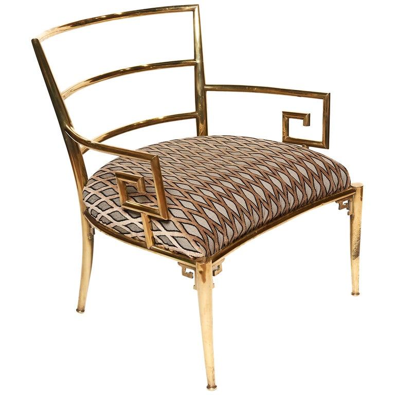 Italian Brass Armchair with Greek Key Armrests, c. 1960s For Sale