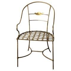 Italian Shiny Brass Art Piece Decorative Armchair w/ Basket Weave Design Seat