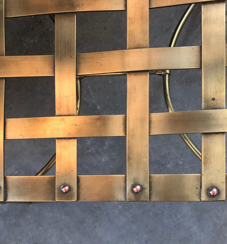 Italian Shiny Brass Art Piece Decorative Armchair with Basket Weave Design Seat For Sale 10