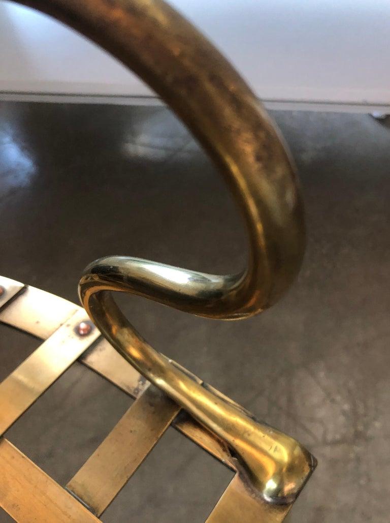 Italian Shiny Brass Art Piece Decorative Armchair with Basket Weave Design Seat For Sale 12