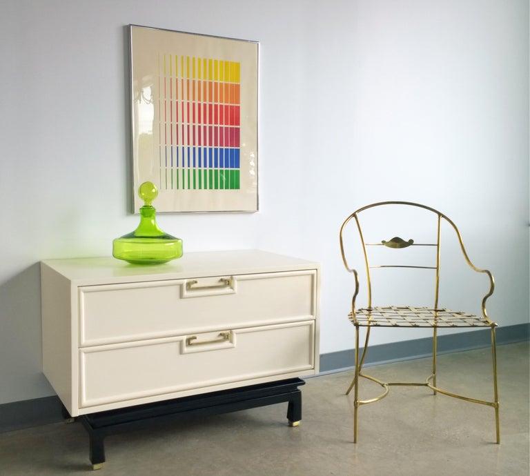 Italian Shiny Brass Art Piece Decorative Armchair with Basket Weave Design Seat For Sale 15