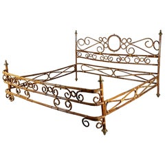 Italian Brass, Bamboo and Rush 1960s Bedframe by Pia Guidetti for Bonacina
