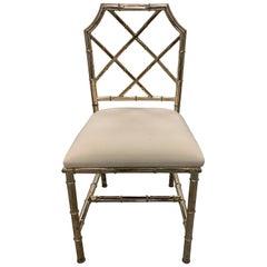 Italian Brass Bamboo Side Chair