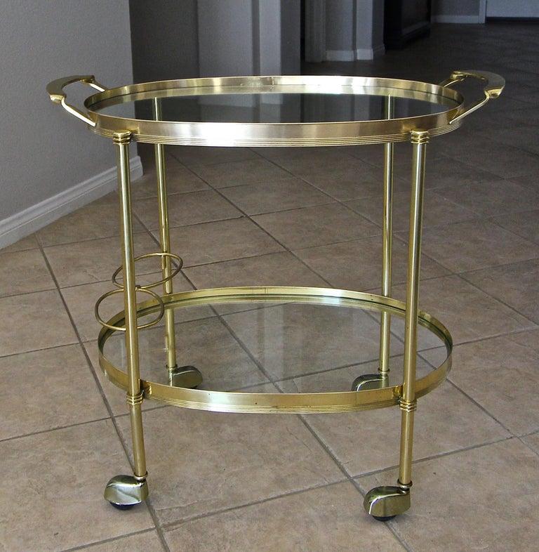 Italian Brass Bar or Tea Cart For Sale 11