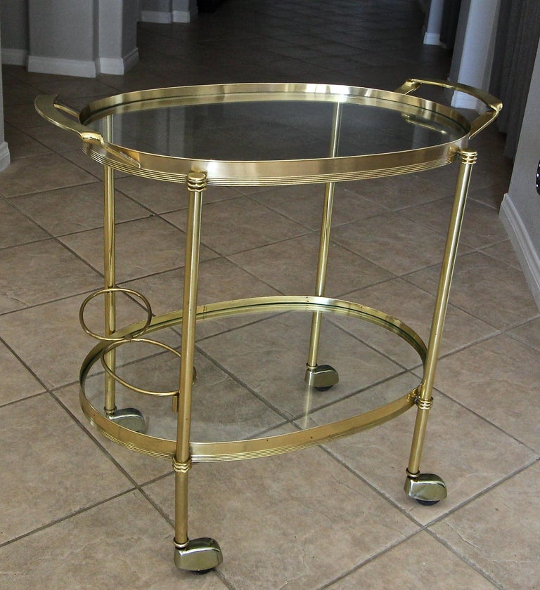 Italian Brass Bar or Tea Cart For Sale 12