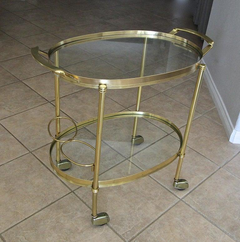 Late 20th Century Italian Brass Bar or Tea Cart For Sale