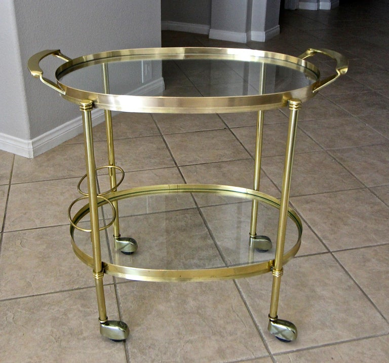 Italian Brass Bar or Tea Cart For Sale 1