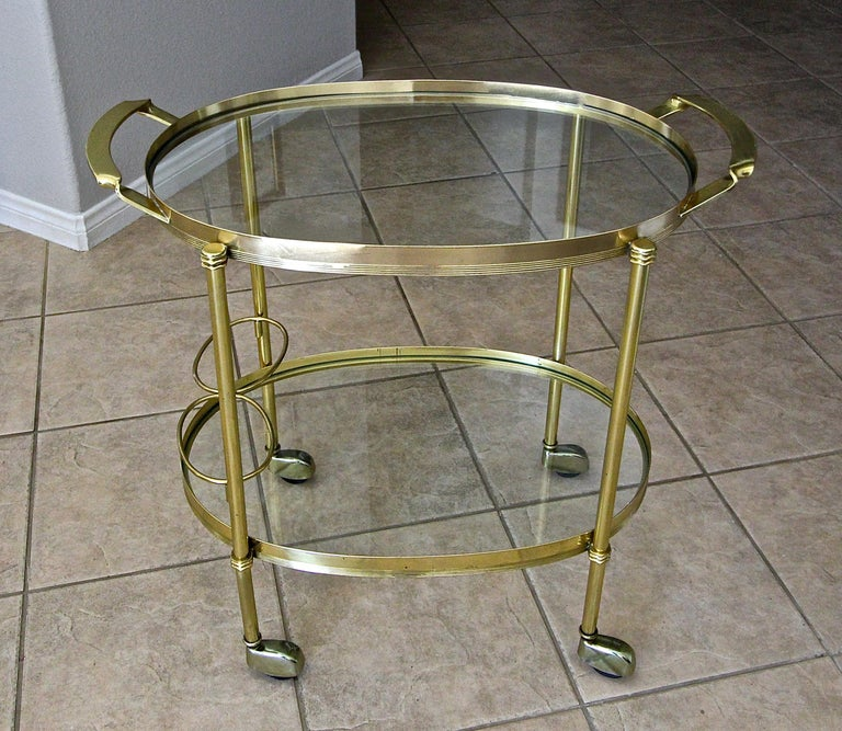 Italian Brass Bar or Tea Cart For Sale 2