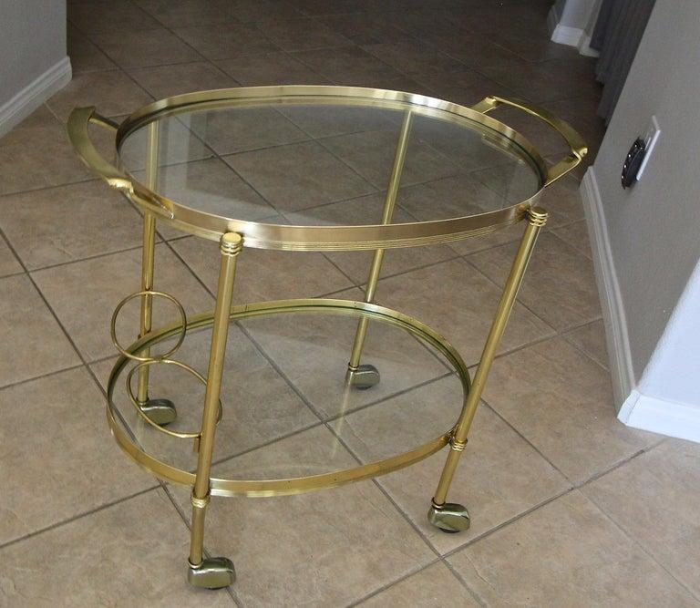 Italian Brass Bar or Tea Cart For Sale 4