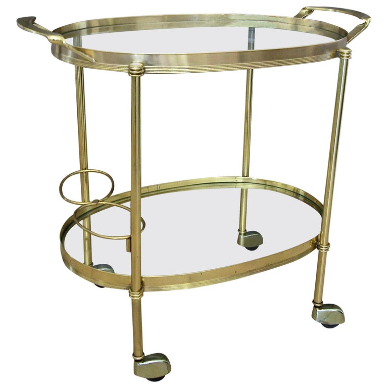 Italian Brass Bar or Tea Cart For Sale