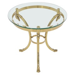 Italian Brass Base Glass Top Round Lamp Table Gueridon Stand