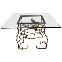 Italian Brass Birds on Branches Cocktail Table