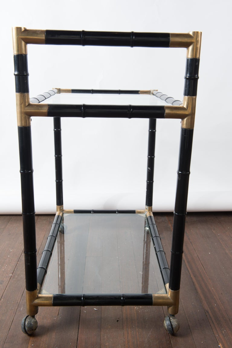 Wood Italian Brass and Black Faux Bamboo Bar Cart, Billy Haines Style For Sale