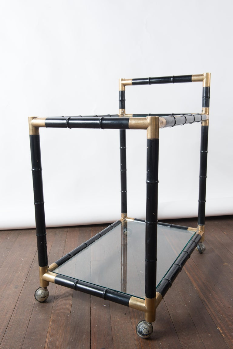 Italian Brass and Black Faux Bamboo Bar Cart, Billy Haines Style For Sale 3