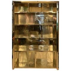 Italian Brass Bookcase, 1980s