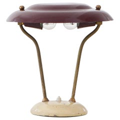 Italian Brass, Bordeaux and Cream Table Lamp, 1950s