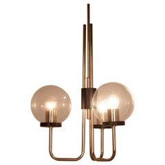 Italian Brass Ceiling Lamp, in the Manner of Stilnovo, 1950s