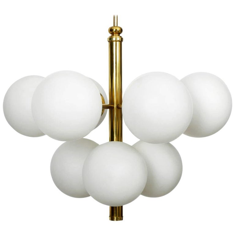 Italian Br Ceiling Lamp With 9 Gles 1960s E Age Atomic Design For