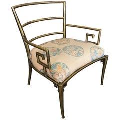 Italian Brass Chair with Greek Key Design