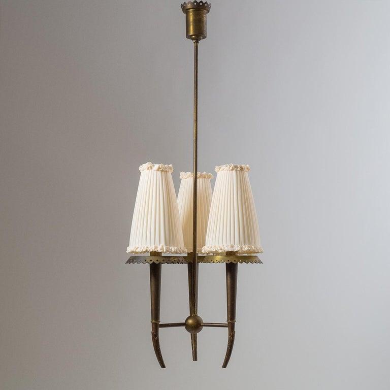 Italian Brass Chandelier, circa 1937, Pietro Chiesa For Sale 5