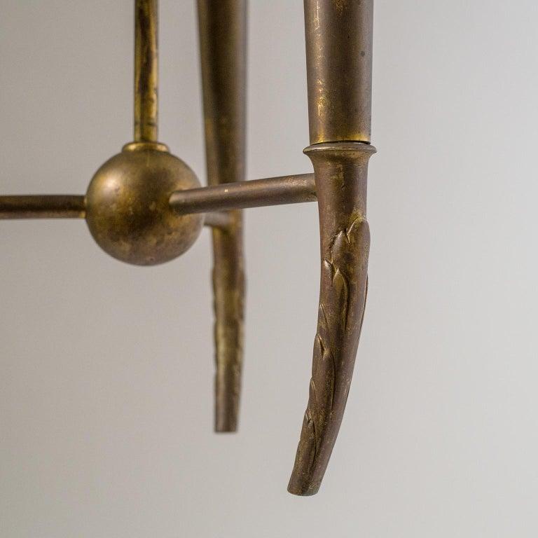Italian Brass Chandelier, circa 1937, Pietro Chiesa For Sale 2