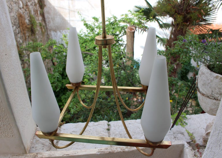 Italian Brass Chandelier In Good Condition For Sale In Los Angeles, CA