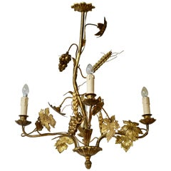 Italian Brass Chandelier with Flowers