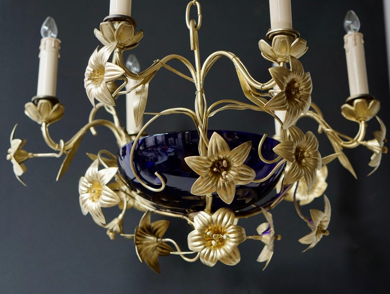 Italian Brass Chandelier with Lilies and Cranberry Glass For Sale 4