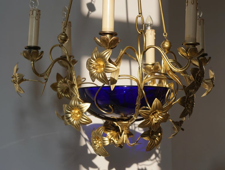 Italian Brass Chandelier with Lilies and Cranberry Glass For Sale 5