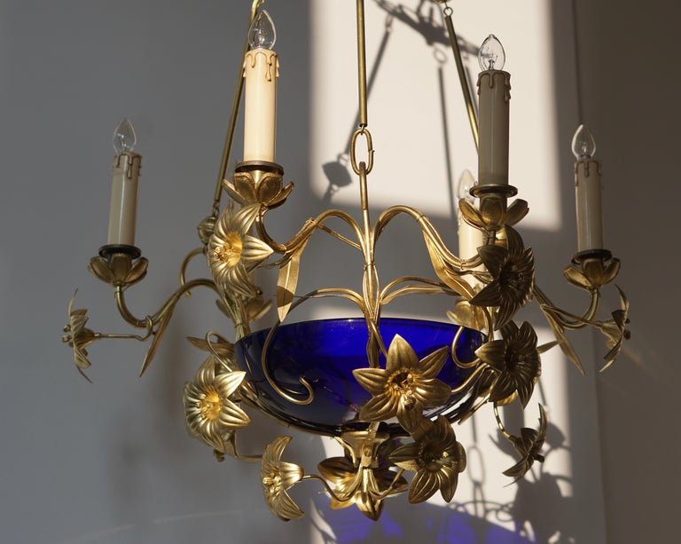 Italian Brass Chandelier with Lilies and Cranberry Glass For Sale 6