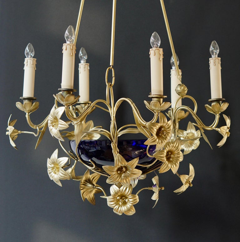 Italian Brass Chandelier with Lilies and Cranberry Glass For Sale 8