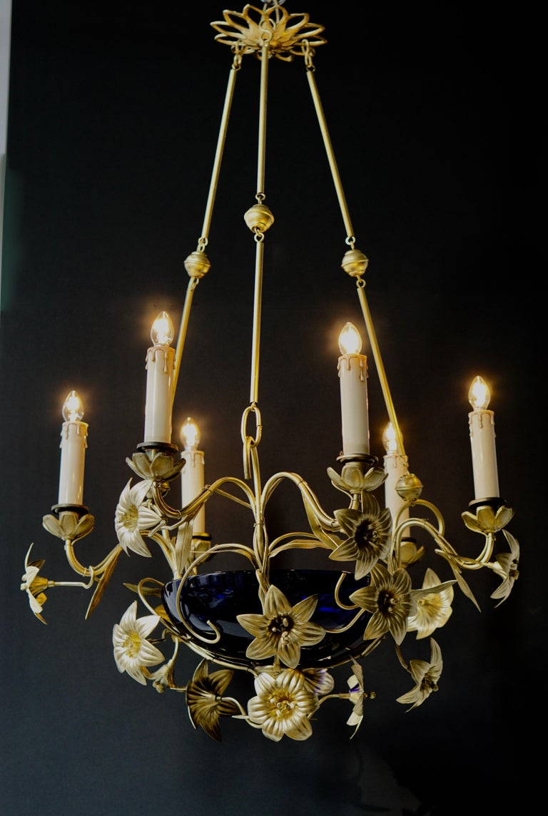 Art Nouveau Italian Brass Chandelier with Lilies and Cranberry Glass For Sale