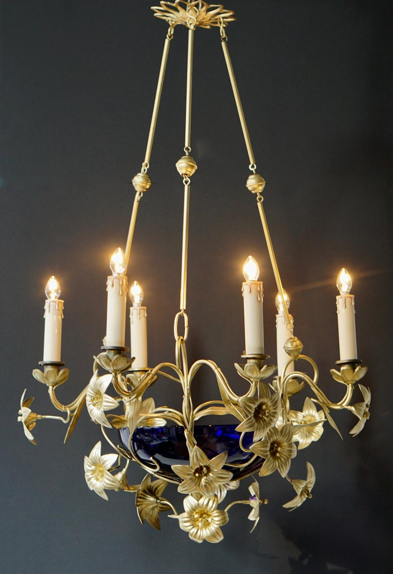 Gilt Italian Brass Chandelier with Lilies and Cranberry Glass For Sale