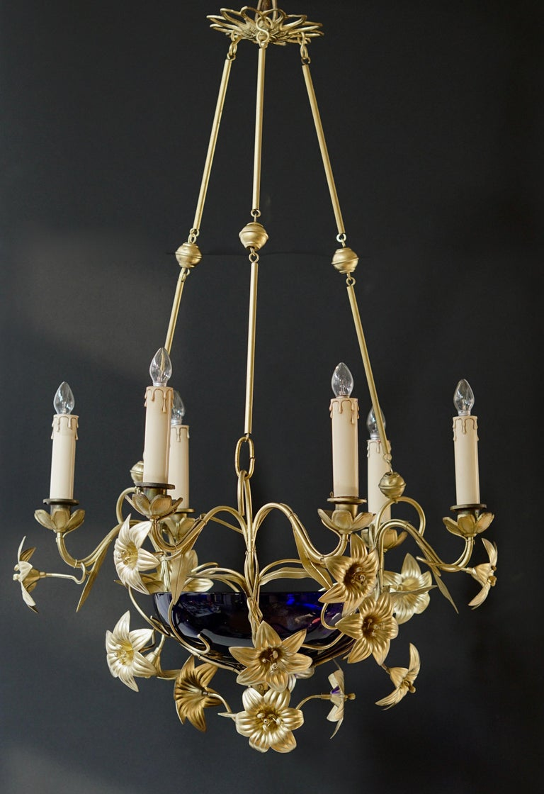20th Century Italian Brass Chandelier with Lilies and Cranberry Glass For Sale