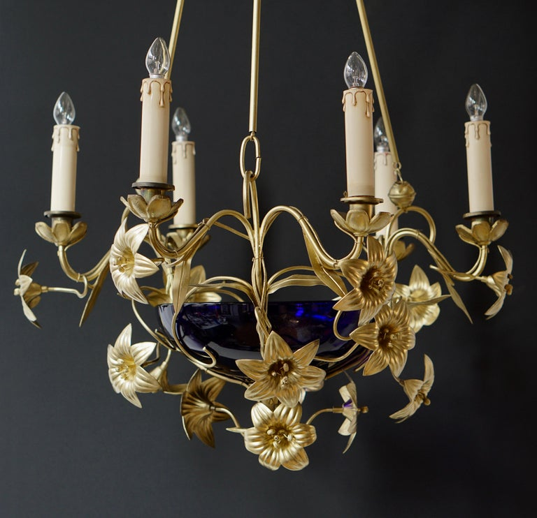 Italian Brass Chandelier with Lilies and Cranberry Glass For Sale 1