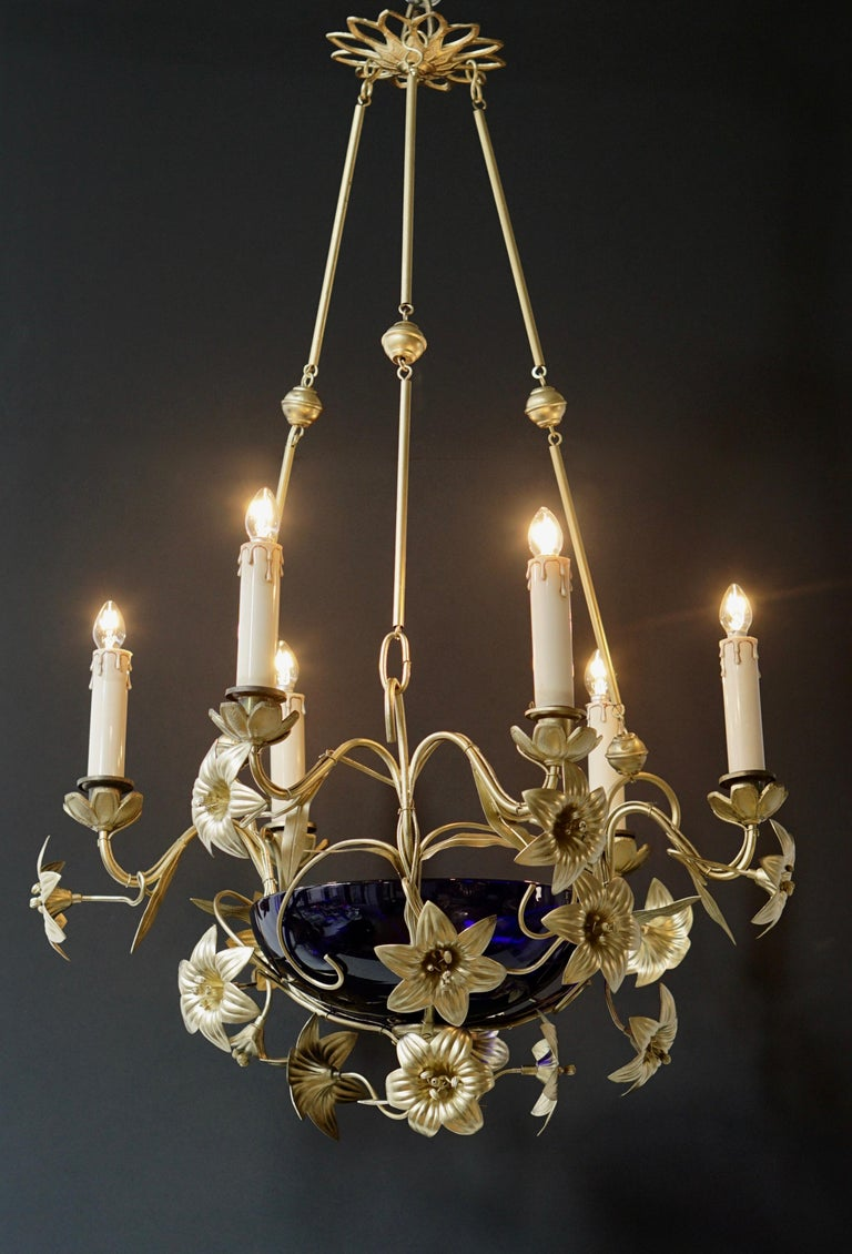 Italian Brass Chandelier with Lilies and Cranberry Glass For Sale 2
