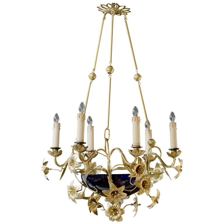Italian Brass Chandelier with Lilies and Cranberry Glass For Sale