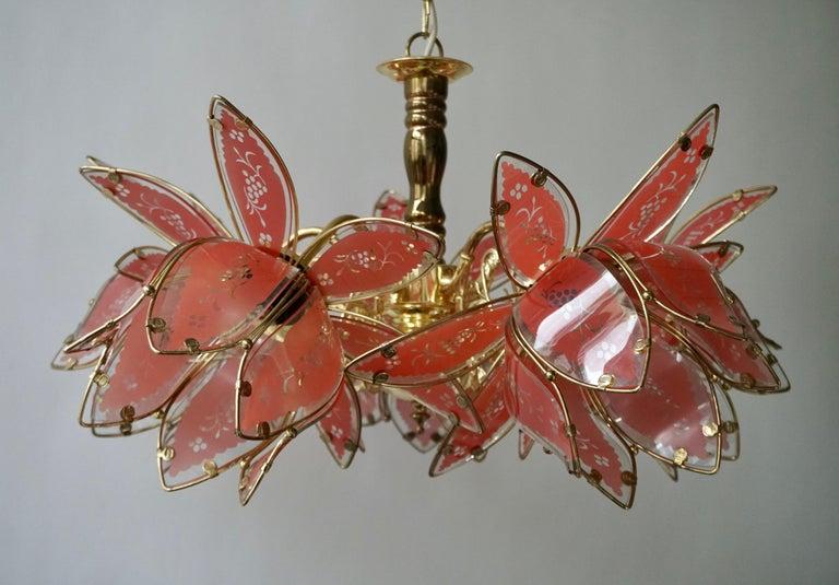 Italian Brass Chandelier with Murano Glass Flowers For Sale 5